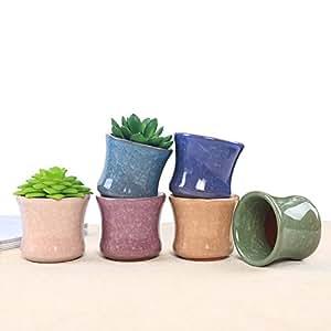 marstree 2.6pulgadas cerámica hielo Crack Zisha serie carnosas maceta Cactus maceta macetero recipiente maceta Pack de 6