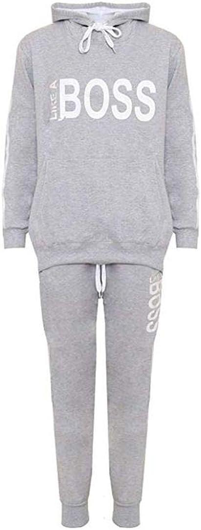H/&F /® New Women Ladies Long Sleeve Like a Boss Printed Tracksuit 2 Piece Loungwear Size UK 14 16 18 20 22-24 26-28