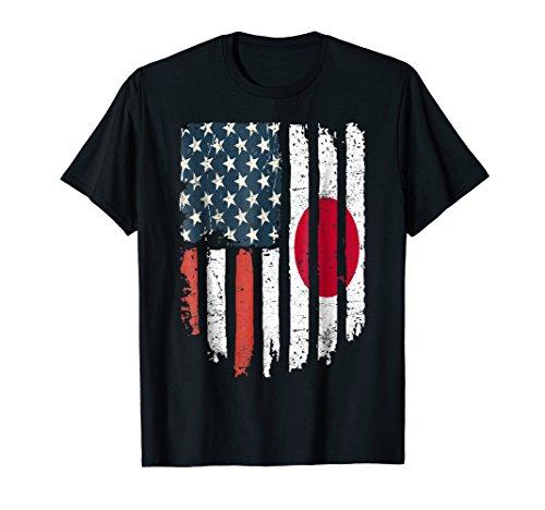 Japanese American Flag Japan USA Hearts Patriot (Japan Flag T-shirt)
