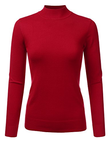 Ribbed Cardigan Silk (JJ Perfection Women's Soft Long Sleeve Mock Neck Knit Sweater Top RED M)