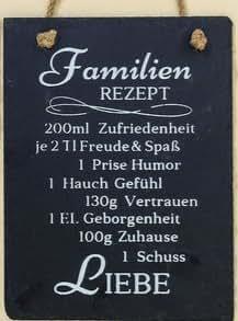 Letrero Recetas Decoración Hogar texto en Alemán en Pizarra Negra 11cm. FAMILIEN REZEPT