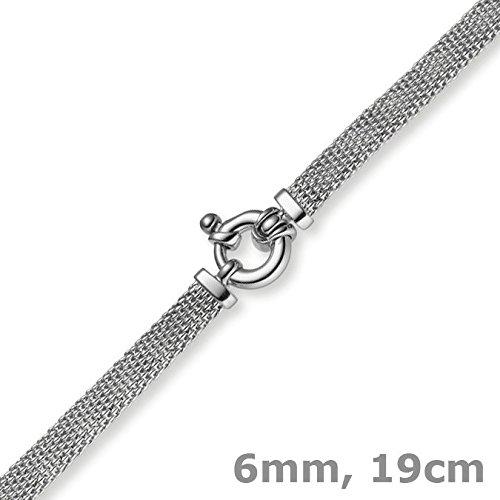 Les bracelets framboise - 6 mm plat-bracelet en or 750 en or blanc 19 cm