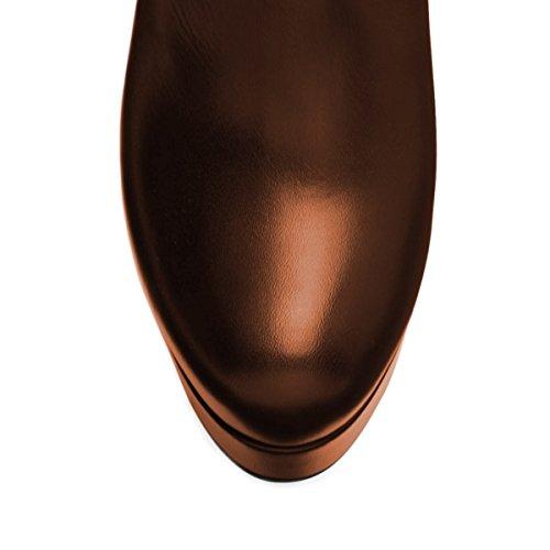 Alto Della Pompe Stiletto Del Bootie Sexy Piattaforma Ballo Del Marrone Dello Nancy Tallone Njpu Cap Punta Jayjii Della Punta Donne Pattini FzqXRY6