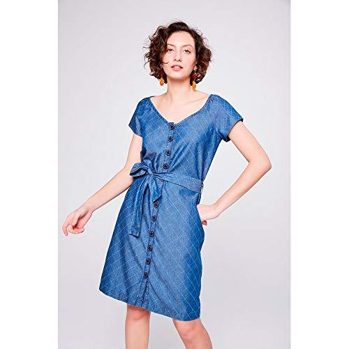 cdf9015fa Vestido Jeans Xadrez com Cinto Tam: GG/Cor: BLUE   iLovee