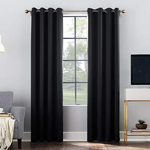 Sun Zero Oslo Theater Grade Extreme 100% Blackout Grommet Curtain Panel, 52' x 84', Black