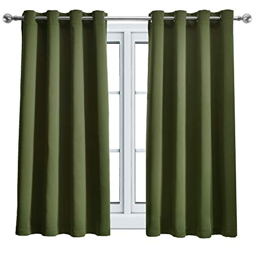 WONTEX Blackout Curtains Thermal Insulated with Grommet for Bedroom, 52 x 63 inch, Olive, 2 Curtain Panels ()