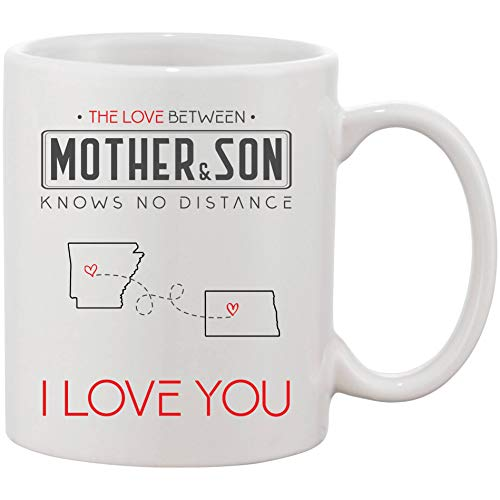Mother's Day Gifts From Son Personalized - The Love Between Mother & Son Knows No Distance, I Love Mom! - Personalized Two State Map Arkansas State And North Dakota State Mug 11 oz -