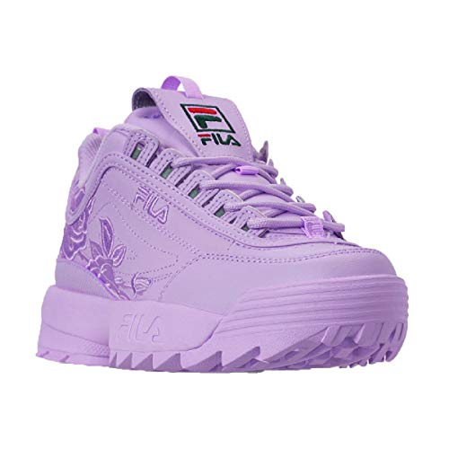 Fila Women's Disruptor II Embroidery Shoes (7.5 M US, Purple Embroidery)