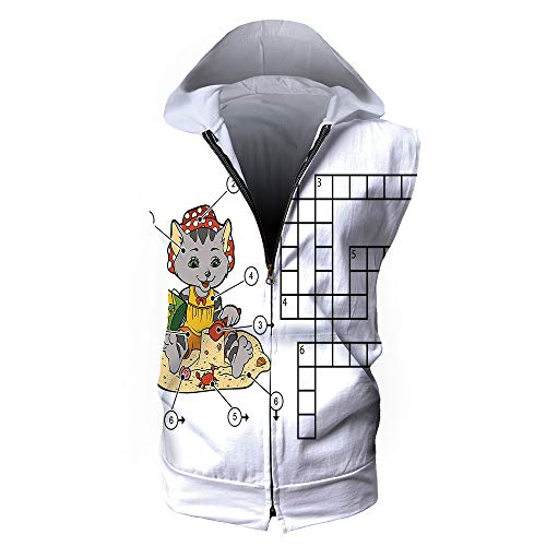 Men's Waistcoat Casual Hooded,Word Search Puzzle,Crossword Game for Children Cut