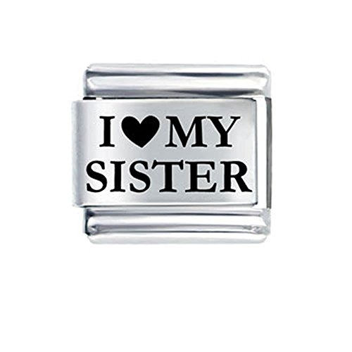 (SEXY SPARKLES I Love My Sister Italian Link Bracelet Charm)
