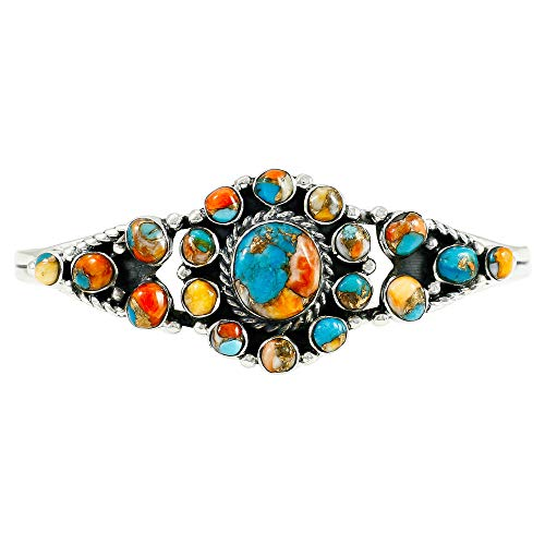 Spiny Turquoise Bracelet Sterling Silver 925 Genuine Turquoise & Spiny Oyster (Choose Style) (Sunburst) by Turquoise Network (Image #3)