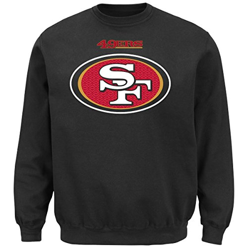 Majestic Men's San Francisco 49ers Black Critical Victory 9 Crewneck Sweatshirt by (Large) (San 49ers Mens Francisco Coaches)