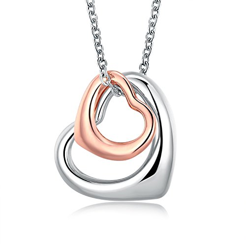 YOUFENG Double Heart Two Tone Necklace 18K Rose Gold Plated Eternal Lifetime Loving You Interlocking Heart Charms (Double heart (Loving Heart Necklace)