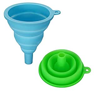CSFLY Collapsible High-quality Silicone Funnel, Ideal for the kitchen, DIY and camping-Green