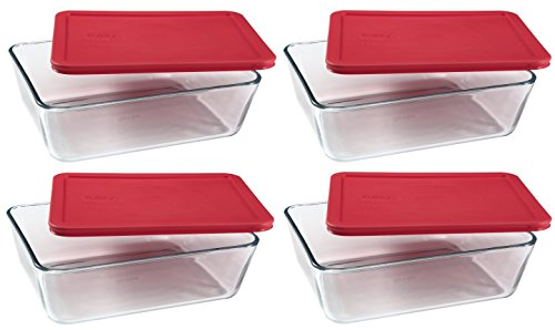 Store Food Storage - PYREX Containers Simply Store 6-cup Rectangular Glass Food Storage Red Plastic Covers ... (Pack of 4 Containers)