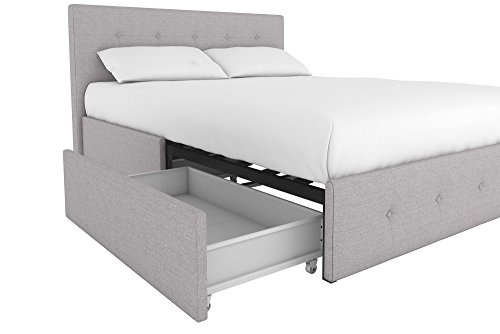 Amazoncom Dhp Rose Upholstered Bed With Storage Gray Linen Queen