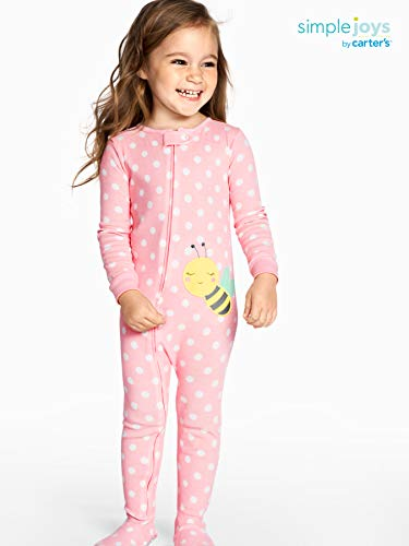 4T Simple Joys by Carters Baby Girls Toddler 3-Pack Snug Fit Footless Cotton Pajamas Owl//Monkey//Animals