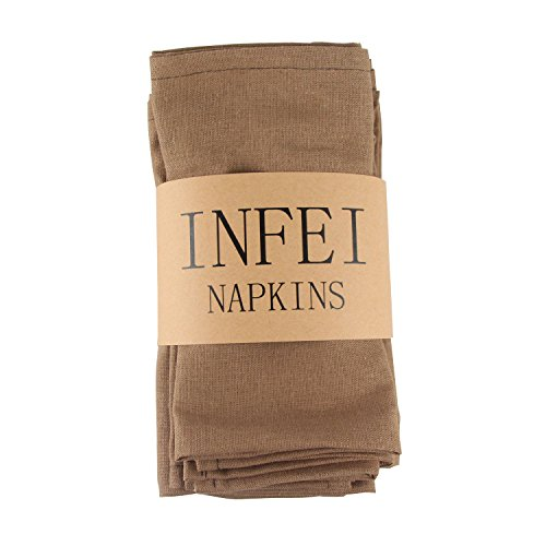 INFEI Soft Solid Color Linen Cotton Dinner Cloth Napkins - Pack of 12 (40 x 40 cm) - For Events & Home Use (Coffee) by INFEI