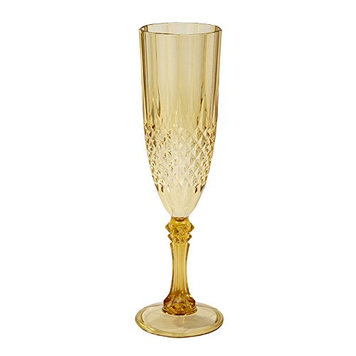 Talking Tables Gold Party Plastic Champagne Flute Glass for a Birthday, Christmas or New Years Eve Party, Gold
