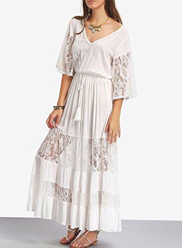 ACHICGIRL Mujer Maxi Vestido Paneles de Encaje Mangas de LLamarada Cuello V Blanco