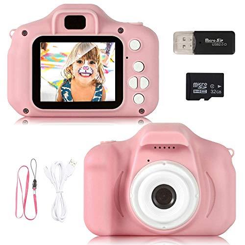 41kBO2zcFuL. SS500 ❀【Video de 8MP y 1080P】 Pantalla IPS mejorada de 2.0 pulgadas recargable, esta cámara para niños viene con 8 mega pixeles incorporados en un lente poderoso frontal y posterior,en comparación con otras cámaras para niños, tiene una calidad de fotografía mucho superior. La cámara de video de juguete graba videos de hasta 1920x1080p, los niños pueden grabar cada uno de sus momentos felices en cualquier momento. ❀【Diseño a Prueba de Golpes y Material Ecológica】La cámara para niños en miniatura utiliza un diseño ecológico, no tóxico y atractivo, pequeño y liviano, muy fácil de transportar. El cordón desmontable les permite a sus hijos jugar con la cámara en cualquier momento, no solo para que aprendan a tomar fotografías, sino para capturar sus momentos felices, permitiendo que usted y sus hijos tengan una relación más cercana. ❀【Múltiples Funciones, más Diversión para los Niños】Viene con más funciones, captura de fotos, grabación de video, juegos, temporizador, zoom digital 3X, enfoque automático, etc. 6 efectos de filtro diferentes, 28 efectos de marco de fotos incorporados, aprovechando al máximo su creatividad e imaginación para hacer realidad el sueño de un pequeño fotógrafo.