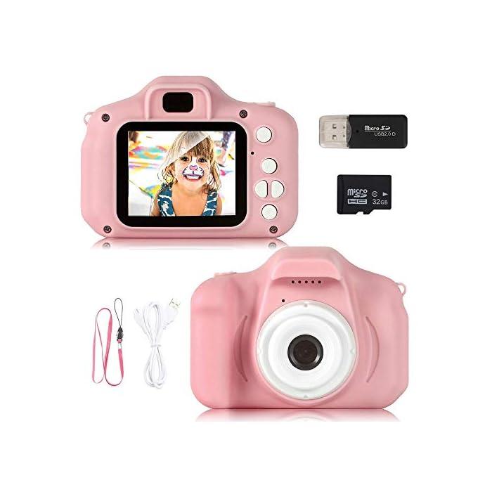 41kBO2zcFuL ❀【Video de 8MP y 1080P】 Pantalla IPS mejorada de 2.0 pulgadas recargable, esta cámara para niños viene con 8 mega pixeles incorporados en un lente poderoso frontal y posterior,en comparación con otras cámaras para niños, tiene una calidad de fotografía mucho superior. La cámara de video de juguete graba videos de hasta 1920x1080p, los niños pueden grabar cada uno de sus momentos felices en cualquier momento. ❀【Diseño a Prueba de Golpes y Material Ecológica】La cámara para niños en miniatura utiliza un diseño ecológico, no tóxico y atractivo, pequeño y liviano, muy fácil de transportar. El cordón desmontable les permite a sus hijos jugar con la cámara en cualquier momento, no solo para que aprendan a tomar fotografías, sino para capturar sus momentos felices, permitiendo que usted y sus hijos tengan una relación más cercana. ❀【Múltiples Funciones, más Diversión para los Niños】Viene con más funciones, captura de fotos, grabación de video, juegos, temporizador, zoom digital 3X, enfoque automático, etc. 6 efectos de filtro diferentes, 28 efectos de marco de fotos incorporados, aprovechando al máximo su creatividad e imaginación para hacer realidad el sueño de un pequeño fotógrafo.