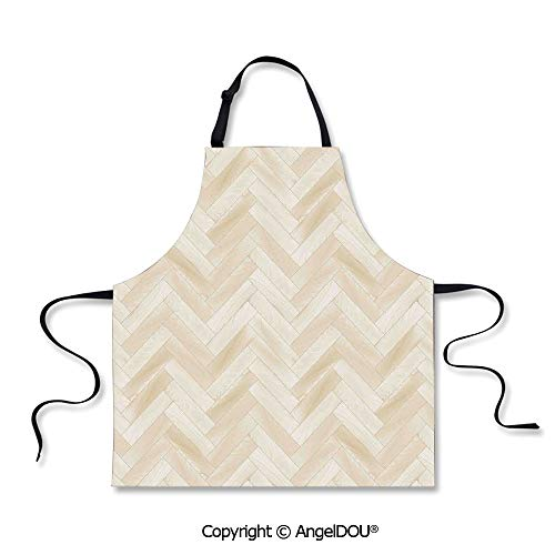 SCOXIXI Printed Unique Cool Kitchen Apron Realistic Wooden Floor Chevron Oak Parquet Artprint Urban Modern Diagonal Decorative Home Decorative Home Cooking BBQ Apron Cleaning Accessory.]()