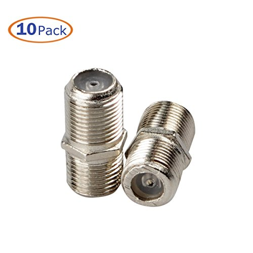 F-Type Coaxial RG6 Connector, Conwork 10-Pack TV RF Cable Extension F81 Coupler Adapter Connects Two Coaxial Video Cables, Female to Female