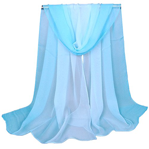 - Alysee Women Charming Silk Georgette Long Scarf Head Hair Wrap Gradient Color Light Blue&White