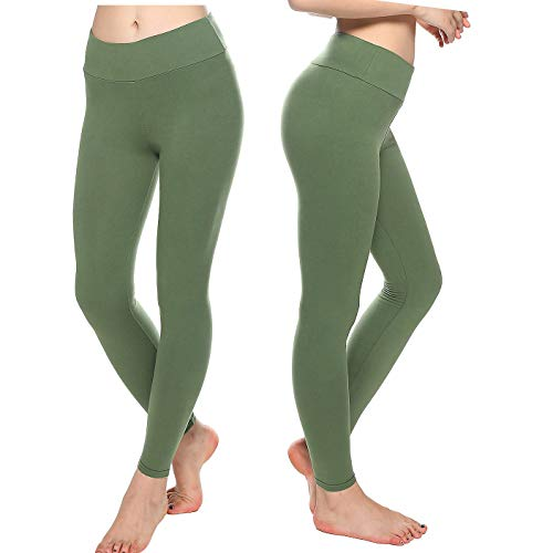 KT Super Soft Buttery Leggings - High Waisted Slimming Leggings - Womens Tummy Control Pants (Tween, Olive)