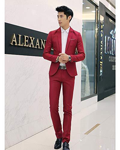 Xfentech 3 Pièces Hommes Marriage Rouge Pantalons Vestes Costumes Affaires Blazers Chemise Nouveau wCXwI