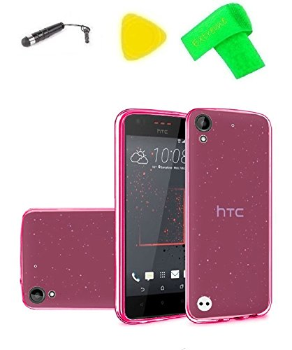 TPU Flexible Skin Cover Phone Case + Extreme Band + Stylus Pen + Pry Tool For HTC Desire 555 650 530 550 630 D530u (TPU Pink) ()