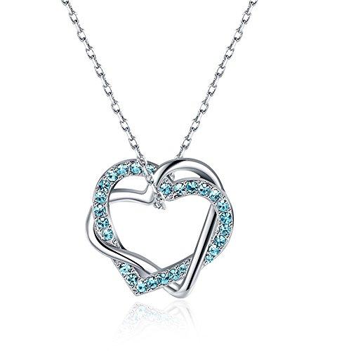 fourHeart Gorgeous Sapphire Austrian Crystal Heart Pendant Necklace (Pendant Austrian Crystal Necklace Heart)