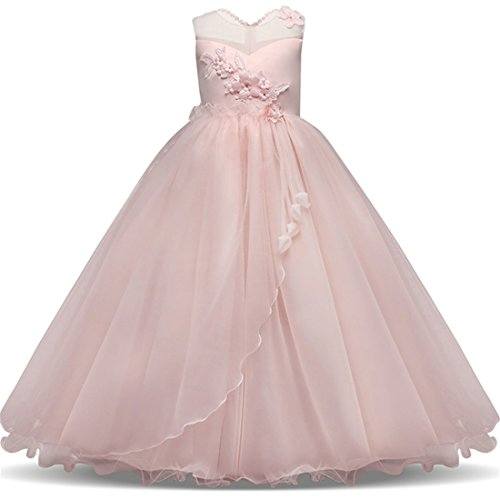 Little Girl Pageant Dresses 6 8 Years Toddler Kids Party Birthday Christmas Blush Pink Beauty Cute Elegant Pageant Girl Tutu Wedding Dress Size 5-7 Girl Dresses Size 8-10 Child Size (Dresses For Girls Christmas)