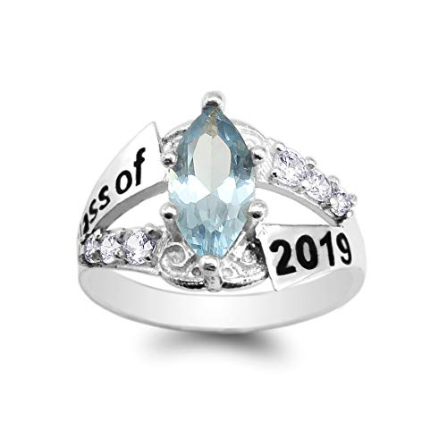 925 Sterling Silver Graduation Class of 2019 School Ring with 1.25ct Baby Blue Marquise CZ Size 8