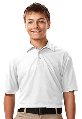 Ky107 Tri Mountain Youth Moisture Wicking Waffle Knit Golf Shirt  White  Medium