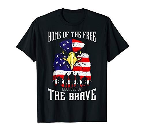 Bald Eagle American Flag Military Veterans Patriotic Brave T-Shirt ()