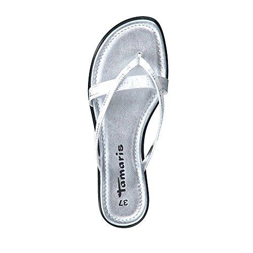 Tamaris 27107-20-915 Damen Pantolette Aus Lederimitat Textilinnenausstattung Silber
