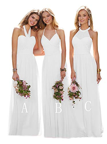 YGSY Women's V-Neck A Line Wedding Dresses Long Chiffon Beach Wedding Party Evening Gowns White Plus Size 22