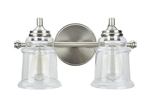 Transitional Two Light Mirror - Aspen Creative 62082, Two-Light Metal Bathroom Vanity Wall Light Fixture, 15 1/4