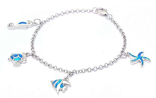Lab Created Blue Opal Sea Horse, turtle, Fish, & starfish .925 Sterling Silver Bracelet by Oxford Diamond Co
