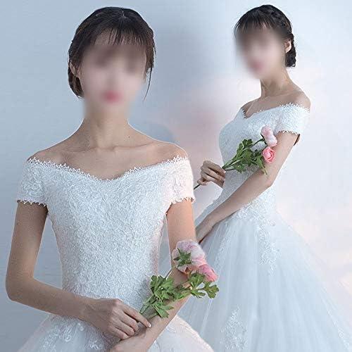 YUMUYMEY V-Cou Hiver Blanc Une Ligne Robes de mariée Stylebride (Size : XL)