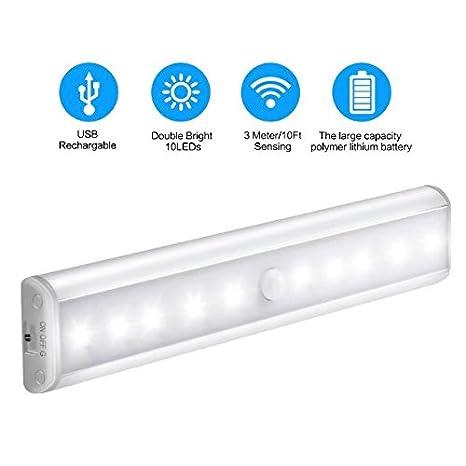 Wireless Movimiento activado luz LED 10 LEDs con USB recargable para armario, gabinete, pasillo