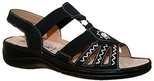 Black SANDAL WITH LADIES LIGHTWEIGHT STRAP TOUCH WALK CUSHION SUMMER CLOSE qwZRZ7gz