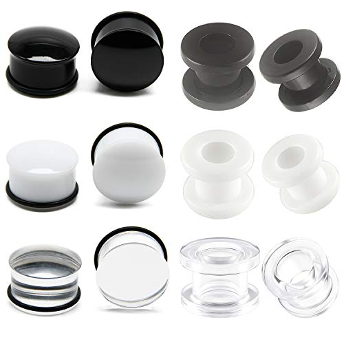 Briana Williams Single Flare Acrylic Ear Plugs Tunnel Expander Ear Gauges with O-Ring & Clear Black White Flesh Ear Tunnels Screw Ear Stretcher Earring Lobe Piercing 12mm Gauge 12mm Screw Flesh Tunnel