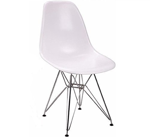 Nicer Furniture ™ Nicer Furniture ™ Set of Four (4) White - Eames Style Side Chair with Chromed Steel Legs Eiffel Dining Room Chair - Lounge Chair with No Arm Arms Armless Chairs Seats Metal Dowel Leg - Eiffel Legged Base Molded Plastic Seat Shell Top-Paris Tower Side Chair Chrome Leg-Paris Tower Side Chair Chrome Leg