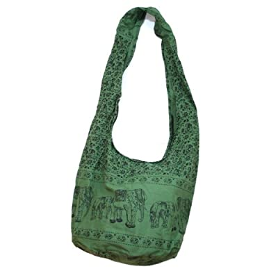 Hippie Elephant Sling Crossbody Bag Shoulder Bag Purse Thai Top Zip Handmade New Color Green