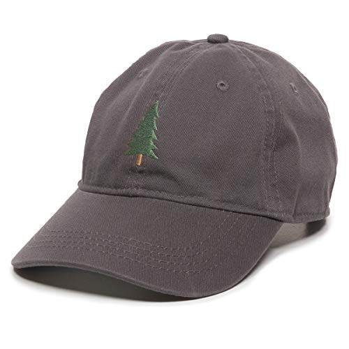Evergreen Tree Embroidered Dad Hat - Adjustable Polo Style Cap for Men & Women Charcoal