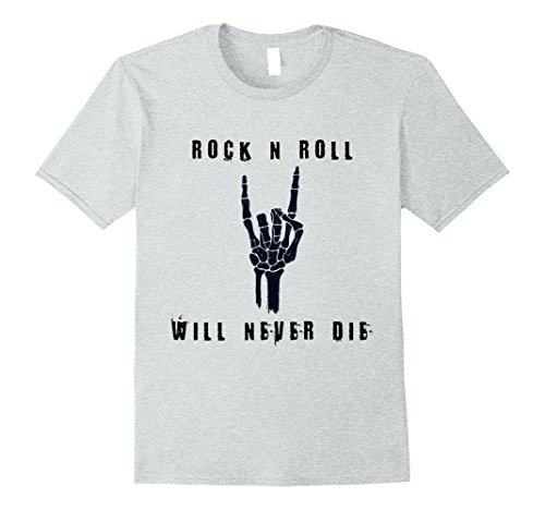 Mens Rock n Roll Will Never Die Halloween Skeleton T-Shirt XL Heather (Rock And Roll Costumes Male)