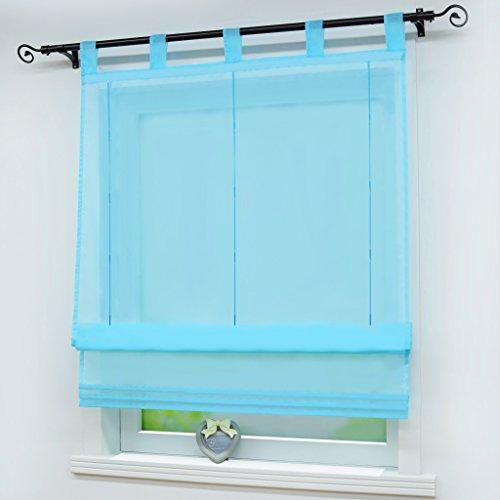 (Joyswahl Roman Shades Rod Pocket Sheer Balcony Window Curtain Voile Drape for Home Decor Decorative)